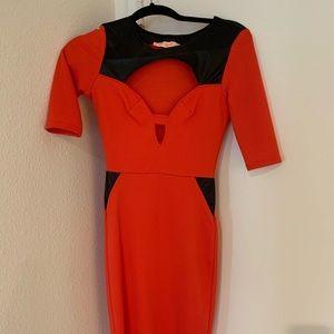 Burnt orange midi body on dress